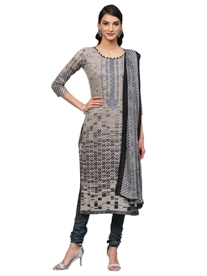 Beige Cotton Embroidered Dress Material With Chiffon Dupatta