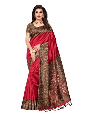 Red Printed Art Silk Sarees With Blouse
