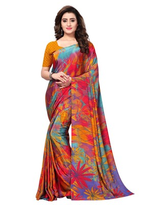 Yellow Printed Crepe Sarees With Blouse