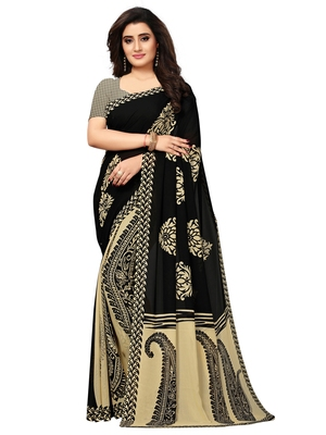 Black Printed Georgette Sarees With Blouse