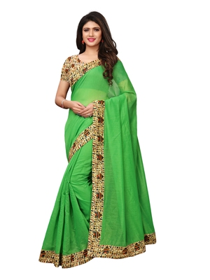 Green Plain Chanderi Sarees With Blouse