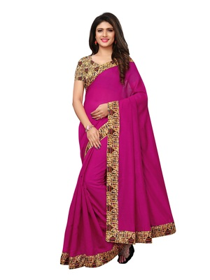 Pink Plain Chanderi Sarees With Blouse