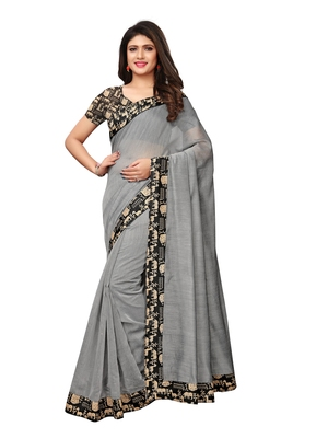 Grey Plain Chanderi Sarees With Blouse
