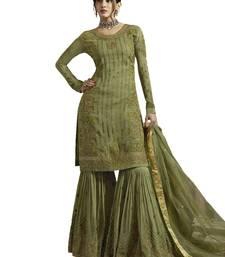 Green embroidered satin Sharara suits