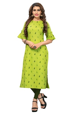 Light-green printed rayon kurti