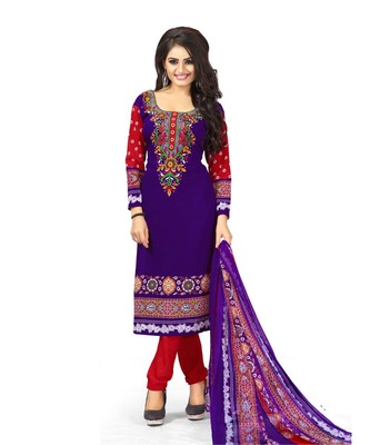 Purple Printed Synthetic Churidar Unstitched Women'S Dress Material