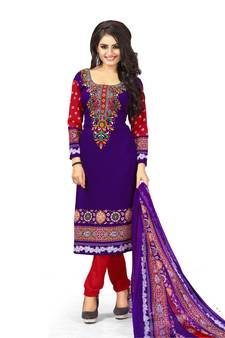 a6035480200 Purple Printed Crepe Churidar Unstitched Women S Dress Material