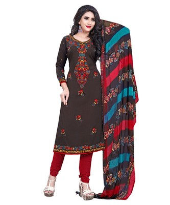 Brown Printed Crepe Churidar Unstitched Women'S Dress Material