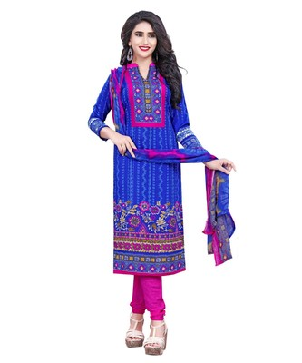 Blue Printed Crepe Churidar Unstitched Women'S Dress Material