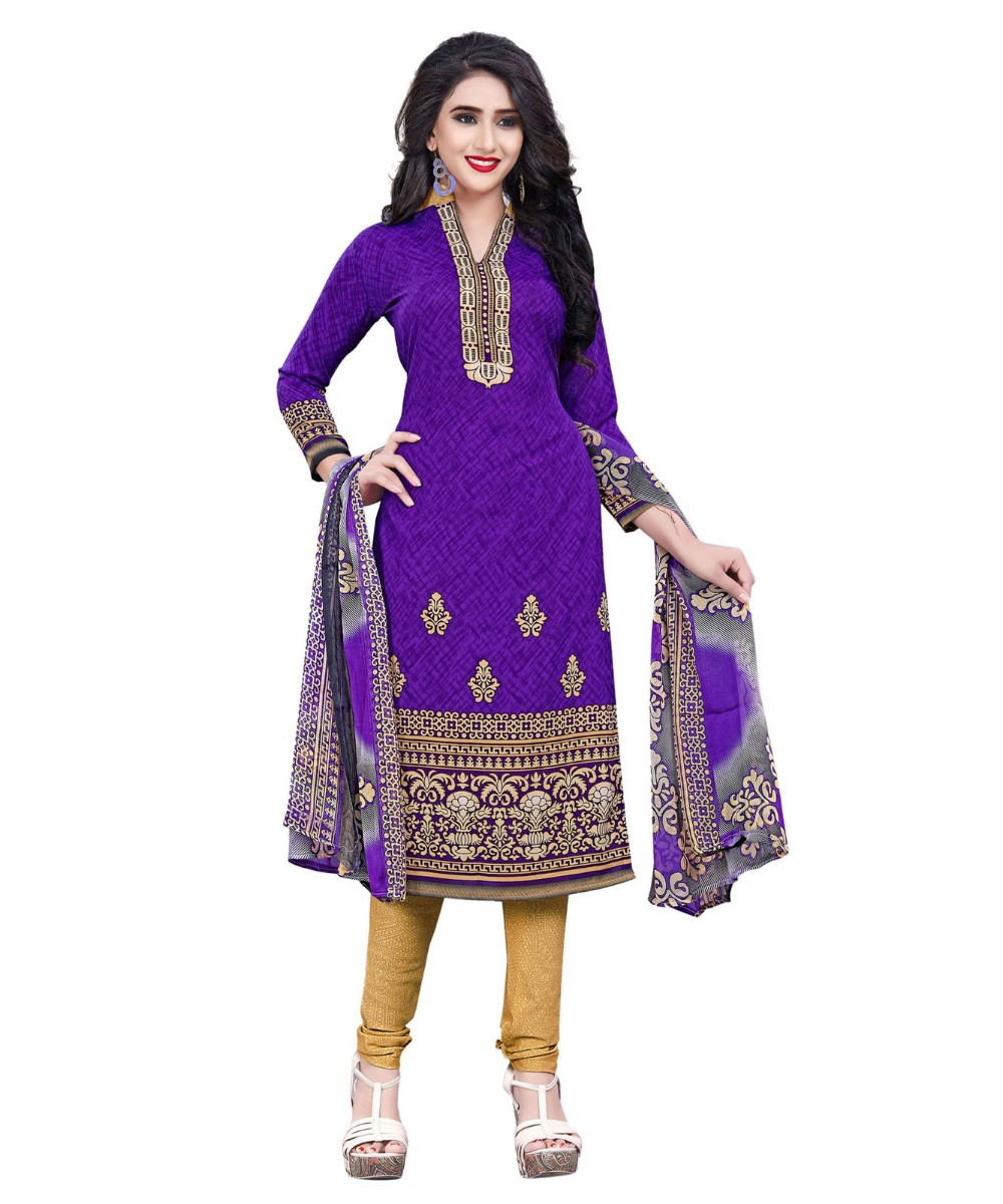2875497eda Purple Printed Crepe Churidar Unstitched Women'S Dress Material - Satrani  Fashion - 2884282