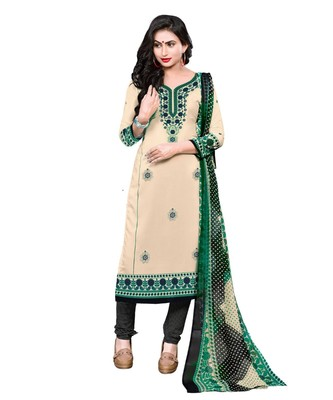 Beige Printed Crepe Churidar Unstitched Women'S Dress Material