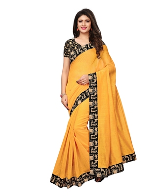 Yellow Plain Chanderi Sarees With Blouse