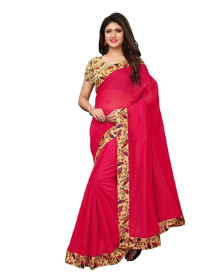 Red Plain Chanderi Sarees With Blouse