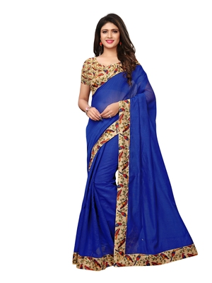 Blue Plain Chanderi Sarees With Blouse