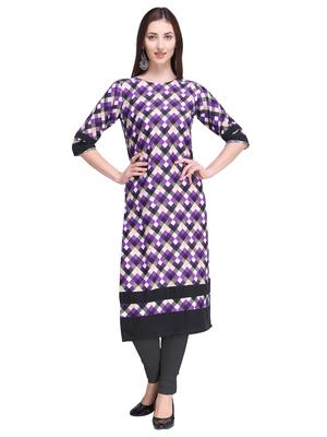 Purple printed crepe ethnic-kurtis