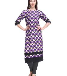 Purple printed crepe ethnic-kurtis