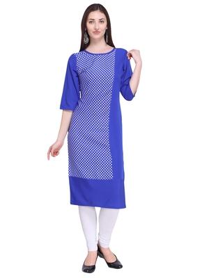 Blue printed crepe ethnic-kurtis