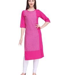 Pink printed crepe ethnic-kurtis