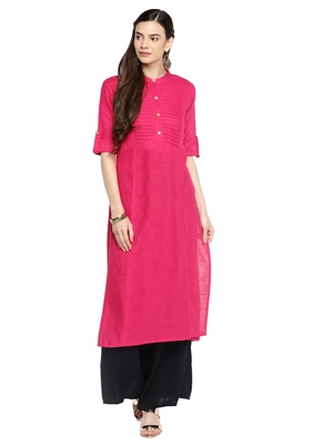 Pink plain cotton ethnic-kurtis
