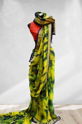 yellow printed faux_linen saree with blouse