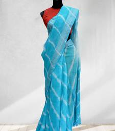 blue printed faux_linen saree with blouse