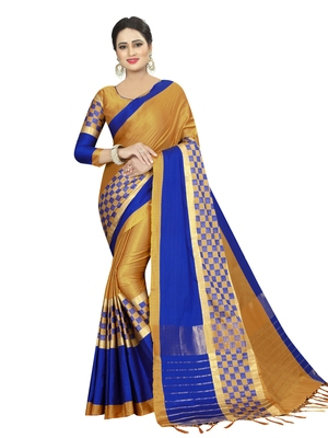 Multicolor Woven Art Silk Sarees With Blouse