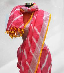 pink printed faux_linen saree with blouse