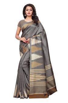 b4efa1d8aa3e58 Grey Printed Art Silk Sarees With Blouse