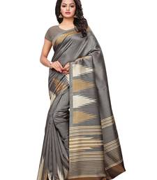 Grey Printed Art Silk Sarees With Blouse