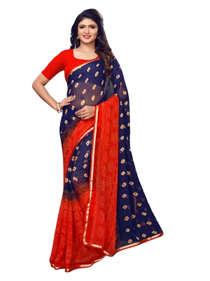 Navy Blue Printed Chiffon Sarees With Blouse