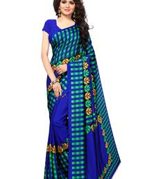 Blue Printed Art Silk Sarees With Blouse