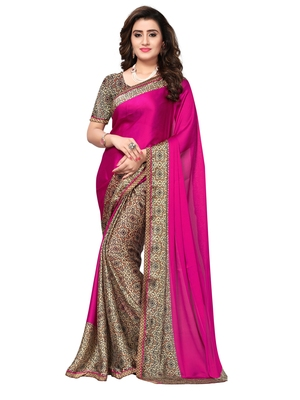 Pink Printed Satin Sarees With Blouse