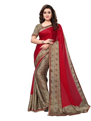 Red Printed Satin Sarees With Blouse