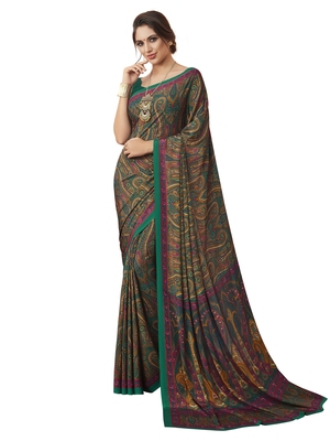 Multicolor Printed Crepe Sarees With Blouse