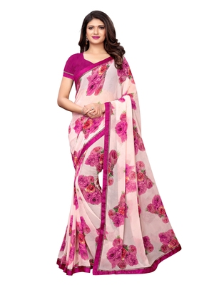 Multicolor Printed Chiffon Sarees With Blouse