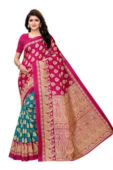 693bc0294c5 Purple Printed Art Silk Sarees With Blouse. Shop Now