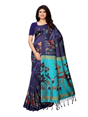 Navy Blue Printed Art Silk Sarees With Blouse