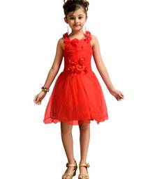 Red plain net kids frocks