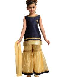 Blue Kids Party Wear Kurta Palazzo Set For Girls
