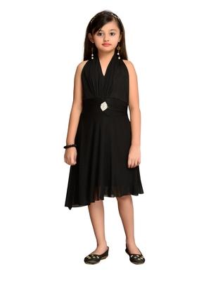 Black plain net kids gown
