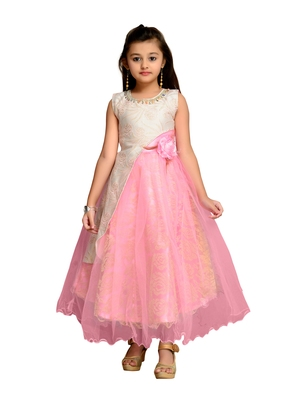 Pink self design net kids gown