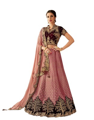 Pink Embroidered  Jacquard Semi Stitched Lehenga