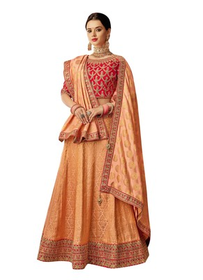Peach Embroidered  Brocade Semi Stitched Lehenga