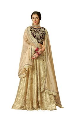 Beige Embroidered  Net Semi Stitched Lehenga