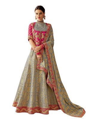 Grey Embroidered  Brocade Semi Stitched Lehenga