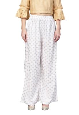 White plain Rayon palazzo-pants