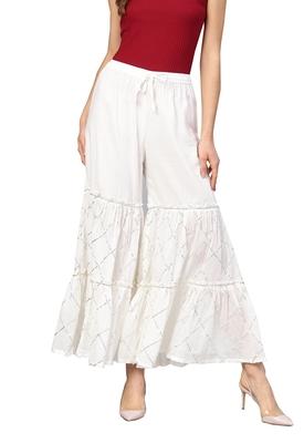 White plain cotton palazzo-pants