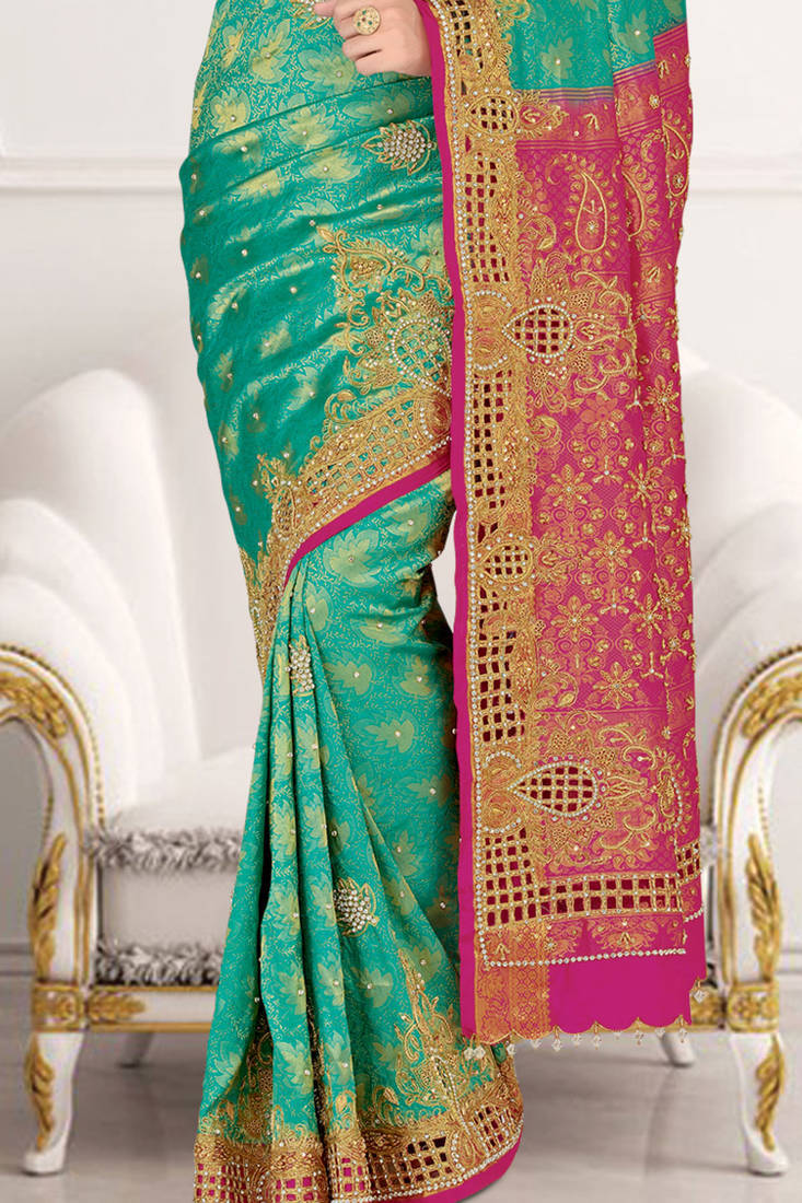 dcb469a32502d Peacock Green embroidered silk saree with blouse - mirraw test - 388250