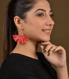 Orange Raffle Tassel Earrings