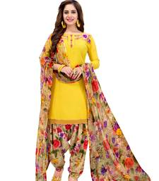 5a98cf31dee Yellow Printed Crepe unstitched salwar with dupatta